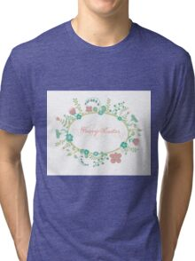 HAPPY EASTER hand lettering handmade calligraphy scalable and editable vector illustration Tri-blend T-Shirt