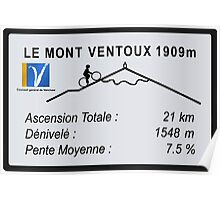 Mont Ventoux Road Sign Replica Print or Metal Poster