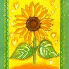 SUNFLOWER WITH LITTLE HEARTS - Sunshine into your heart by RubaiDesign