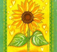 SUNFLOWER WITH LITTLE HEARTS - Sunshine into your heart- COLOUR-PENCIL AND PASTEL-DESIGN by RubaiDesign