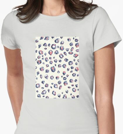 Navy & Coral Crystals Womens Fitted T-Shirt