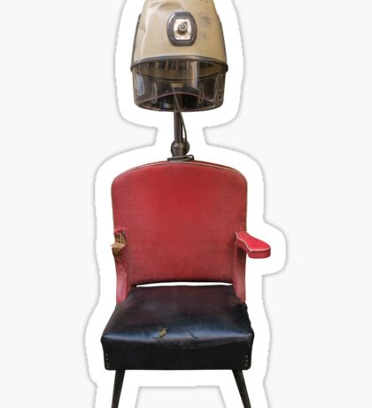 Vintage Retro Barber Hair Dryer And Chair Sticker