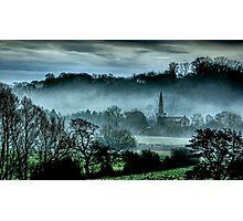 Chiselborough Misty Morning Photographic Print