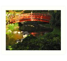 Red bridge, stones, and reflecting pool Art Print