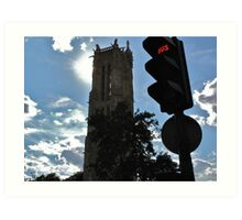 Church steeple and traffic light, Paris Art Print