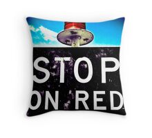 STOP! - On Red Signal Throw Pillow