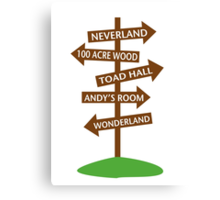 Direction Sign to Disney's Fictional Locales Canvas Print