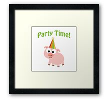 Cute Pink Party Time Pig Framed Print