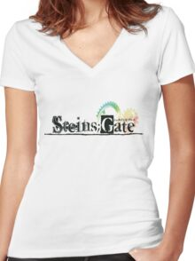 Steins;Gate  シュタインズ・ゲート Women's Fitted V-Neck T-Shirt