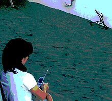 Lonely Mom, with her baby and cell phone by shonanthebeach