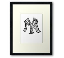 NY Yankees zentangle Framed Print