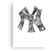 NY Yankees zentangle Canvas Print