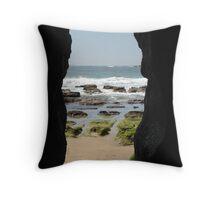 Caves Beach Throw Pillow