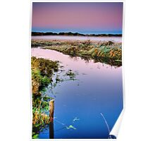 Marshland Right Before Sunrise Poster