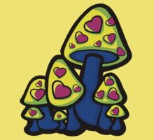 Heart Love Mushrooms Yellow and Blue  Kids Clothes