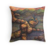 Skull Woman in Rocks Landscape Drawing Throw Pillow