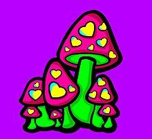 Heart Love Mushrooms Pink and Green  by Sookiesooker
