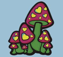Heart Love Mushrooms Pink and Green  Kids Tee
