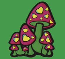 Heart Love Mushrooms Pink and Green  Kids Clothes