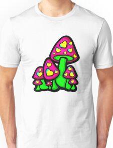 Heart Love Mushrooms Pink and Green  Unisex T-Shirt