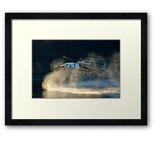 Fully loaded. L.A. County fire helicopter fill water at Lauro Reservoir in Santa Barbara, CA in an effort to extinquish the Tea Fire Framed Print