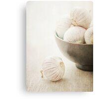 Still life of Garlic in a bowl Canvas Print