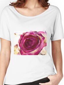 Pink rose with petals 4 Women's Relaxed Fit T-Shirt
