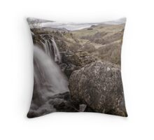 Loup of Fintry waterfall Throw Pillow