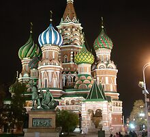 St. Basil's Cathederal At Night by beckett
