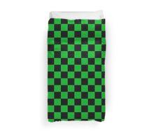 Square Pattern Design Green and Black  Duvet Cover