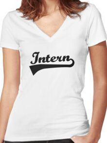 Intern Women's Fitted V-Neck T-Shirt