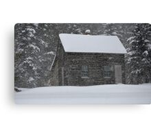 Old Cabin in Snowstorm, Mount Desert, ME Canvas Print