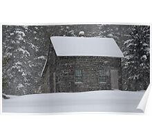 Old Cabin in Snowstorm, Mount Desert, ME Poster