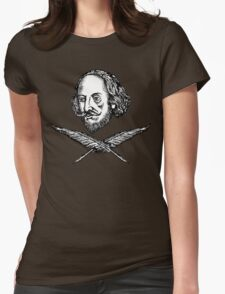 Shakespeare with Crossed Quilla Womens Fitted T-Shirt