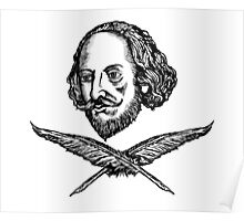 Shakespeare with Crossed Quilla Poster