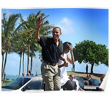 Obama waves to supporters Poster