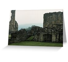 Fireplace in buildings Bylands Abbey North Yorkshire England Elite 198406020033 Greeting Card