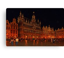 Grand Place at Night, Brussels, Belgium Canvas Print
