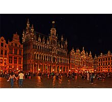 Grand Place at Night, Brussels, Belgium Photographic Print