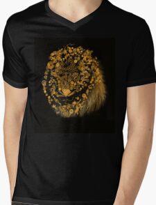 Lion Face Mens V-Neck T-Shirt