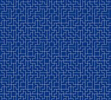 Blue and White Tetris Pattern by c0y0te7