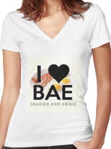 BAE (Bacon & Eggs) Women's Fitted V-Neck T-Shirt