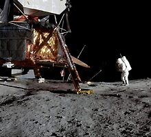 Apollo 17 : Panoramic Digital Painting of the Moon Landing by verypeculiar