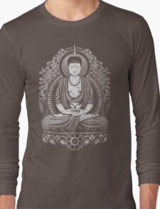 Gautama Buddha White Halftone Distressed Long Sleeve T-Shirt