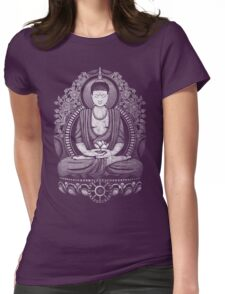 Gautama Buddha White Halftone Distressed Womens Fitted T-Shirt