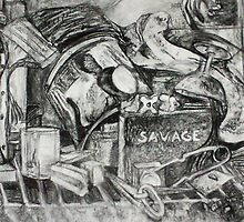 Abstract Material Still Life (Charcoal Drawing)- by Robert Dye