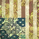 Earthy Floral American Flag Print by huliodoyle