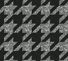 """Silver and Black """"Sparkled"""" Houndstooth by erbeining"""