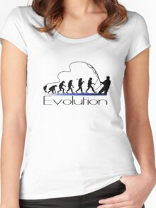 Evolution of fisherman Women's Fitted Scoop T-Shirt