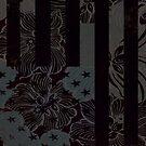 Black Floral Stripe by huliodoyle
